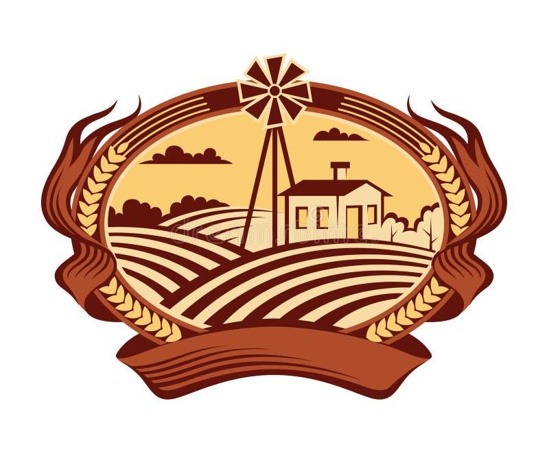 Icône de paysage d'agriculture illustration de vecteur