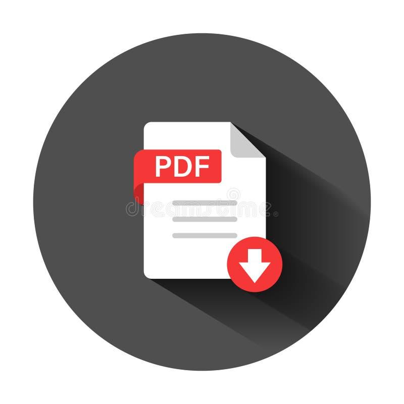 Ic?ne de pdf dans le style plat Illustration de vecteur des textes de document sur le fond rond noir avec la longue ombre Concept illustration de vecteur
