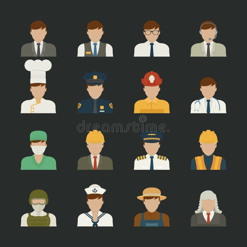 Icône de personnes, icônes de professions, ensemble de travailleur illustration stock