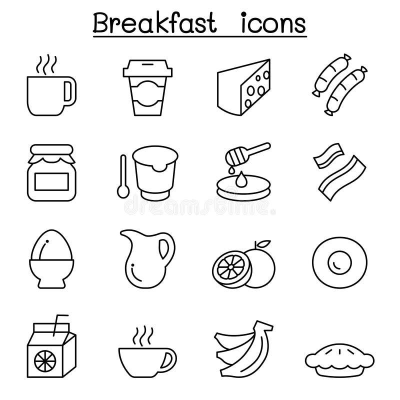 Icône de petit déjeuner réglée dans la ligne style mince illustration libre de droits