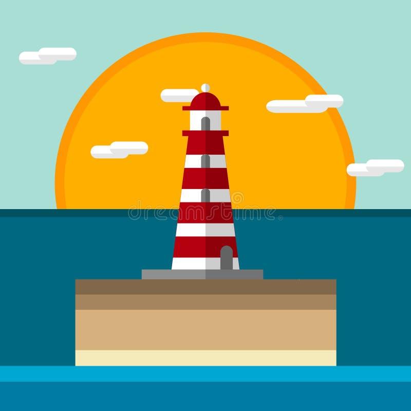 Icône de phare plate illustration de vecteur