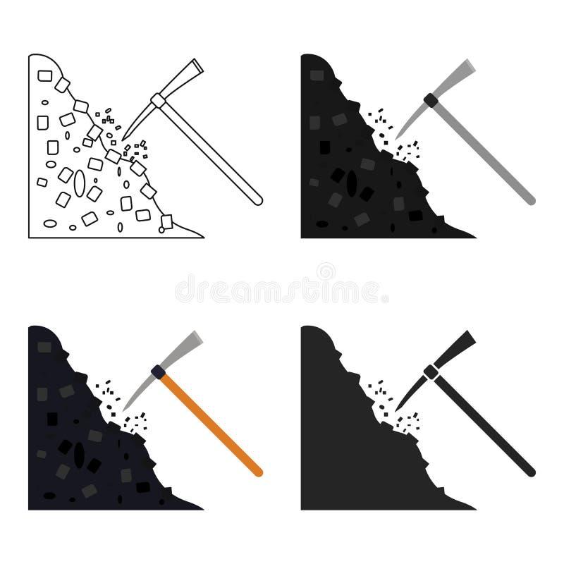 Icône de pioche dans le style de bande dessinée d'isolement sur le fond blanc Illustration de vecteur d'actions de symbole de min illustration de vecteur