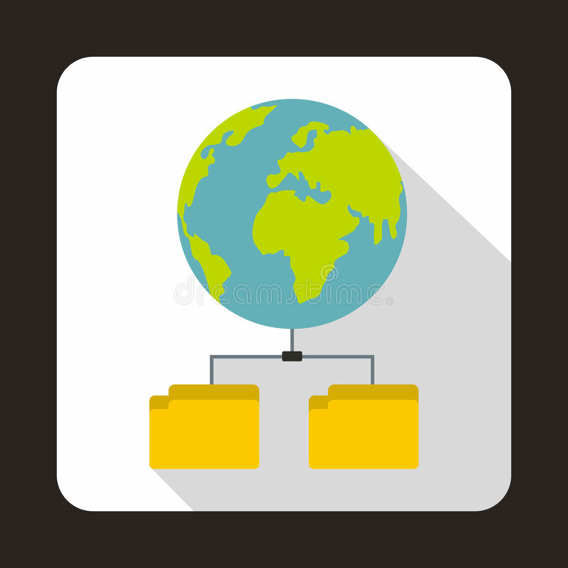 Icône de planète et de deux dossiers, style plat illustration stock
