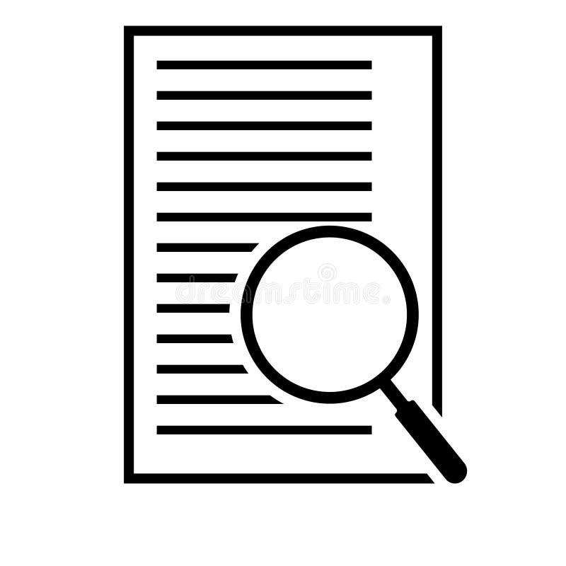Ic?ne de plan de document d'examen minutieux dans le style plat Passez en revue l'illustration de vecteur de d?claration sur le f illustration libre de droits