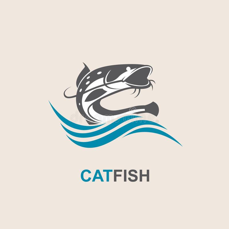 Icône de poisson-chat et de vague illustration libre de droits
