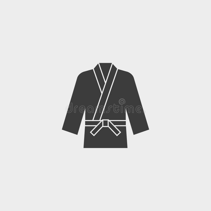 Icône de poissons d'icône de kimono de karaté dans une conception plate dans la couleur noire Illustration EPS10 de vecteur illustration libre de droits