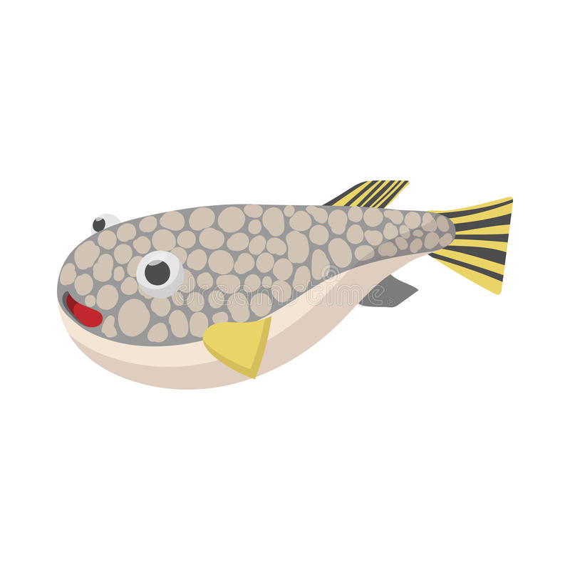 Icône de poissons de Fugu, style de bande dessinée illustration stock