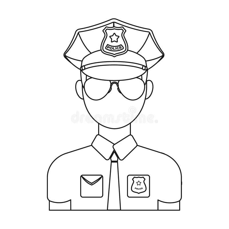 Icône de policier dans le style d'ensemble d'isolement sur le fond blanc Illustration de vecteur d'actions de symbole de police illustration libre de droits
