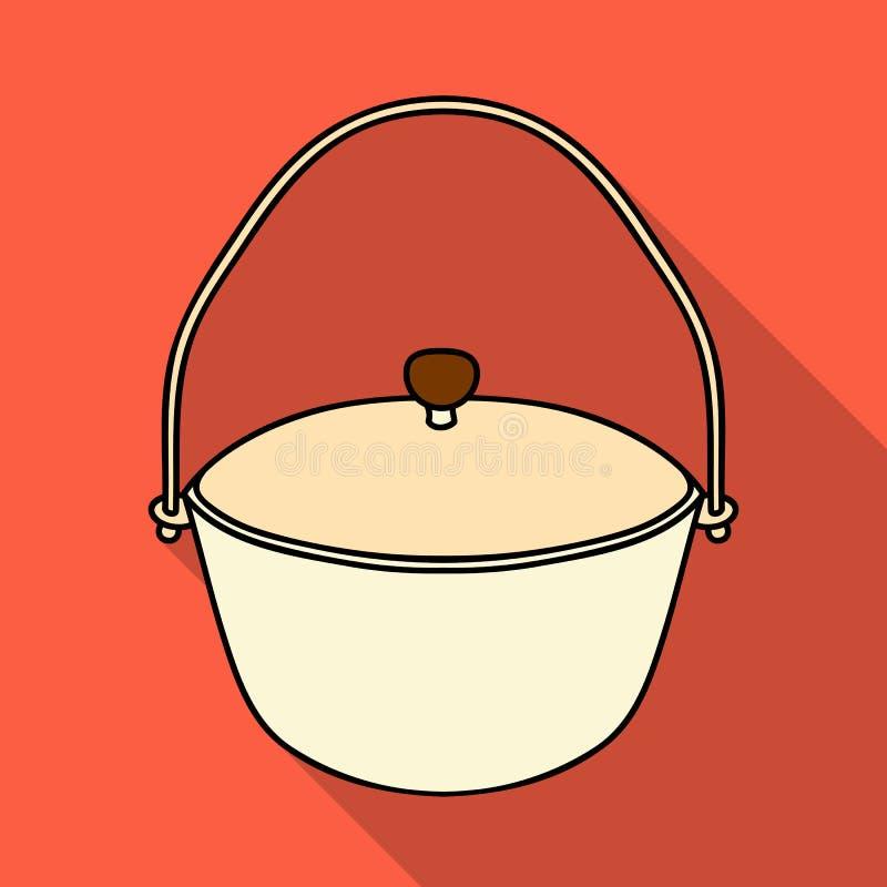 Icône de pot de camping dans le style plat d'isolement sur le fond blanc Illustration de vecteur d'actions de symbole de pêche illustration libre de droits