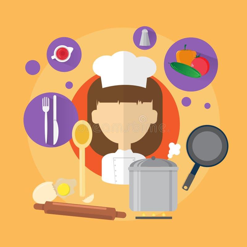 Download Icône De Professional Cook Woman De Chef Illustration de Vecteur - Illustration du illustration, dame: 77158470