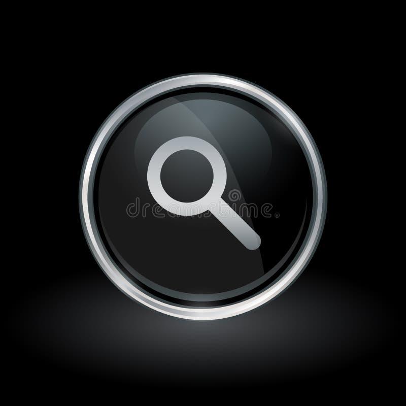 Icône de recherche de loupe à l'intérieur d'argent rond et d'emblème noir illustration libre de droits