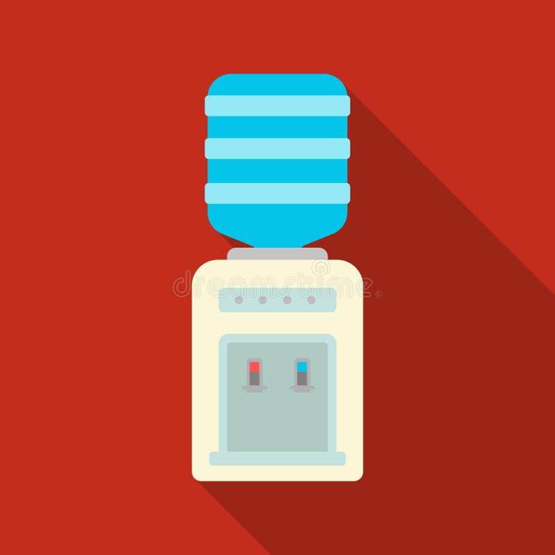 Icône de refroidisseur d'eau de bureau dans le style plat d'isolement sur le fond blanc Meubles de bureau et vecteur intérieur d' illustration stock