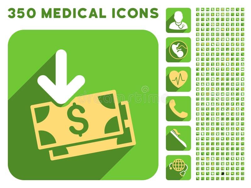 Icône de revenu de billets de banque et ensemble médical d'icône de Longshadow illustration stock