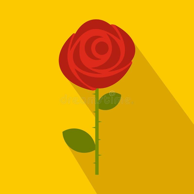 Icône de rose de rouge dans le style plat illustration de vecteur