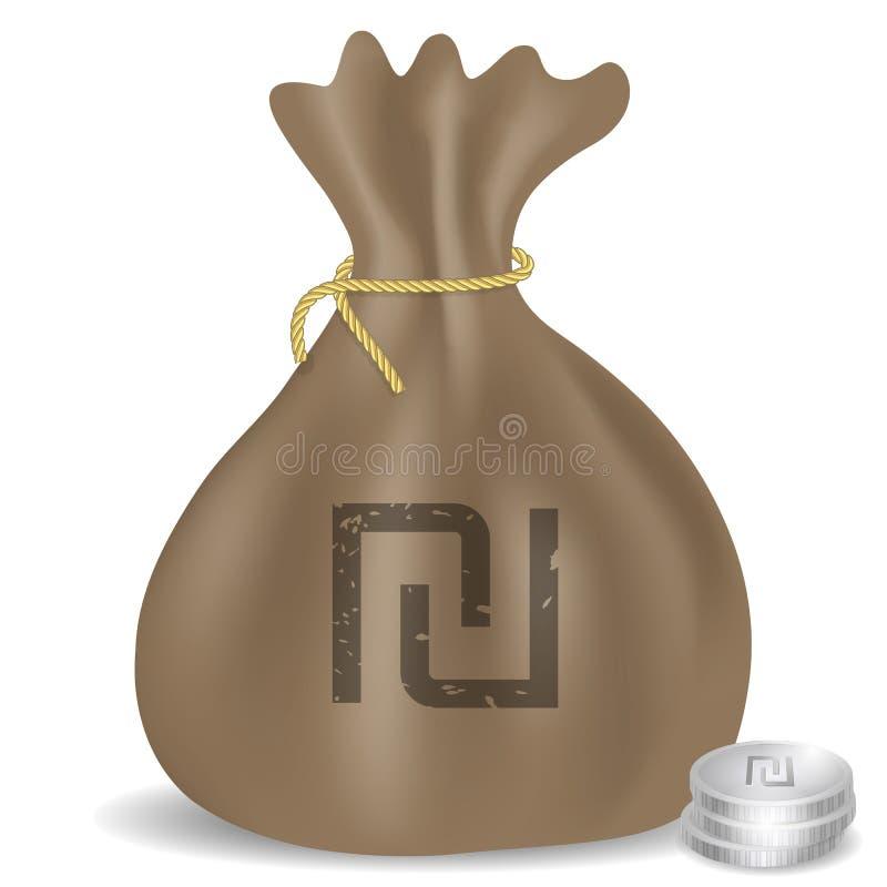 Icône de sac d'argent avec le symbole israélien de shekel illustration stock