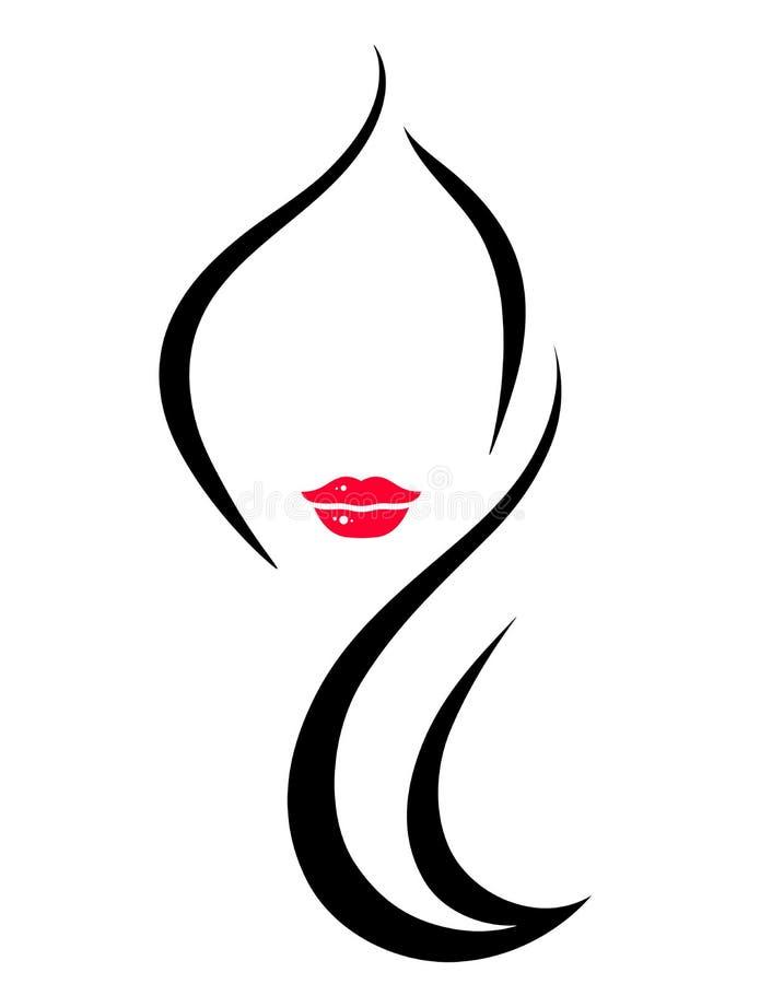Icône de salon de coiffure avec la femme illustration libre de droits