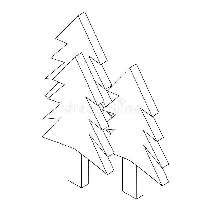 Icône de sapins, style 3d isométrique illustration stock