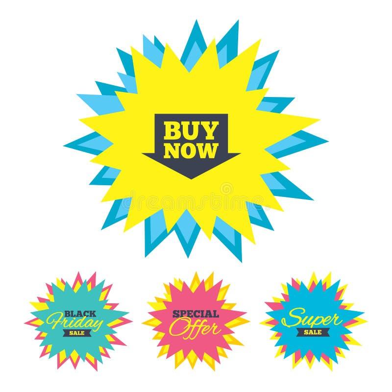 Icône de signe d'acheter maintenant Bouton de achat en ligne de flèche illustration de vecteur