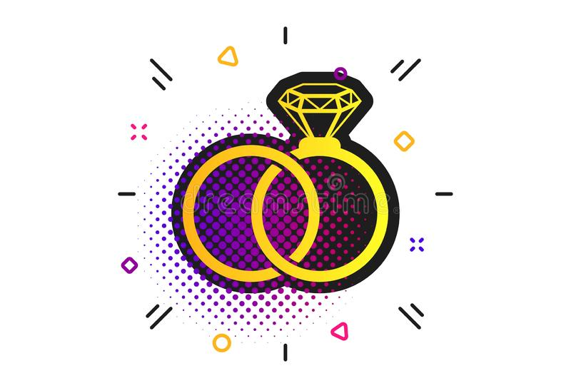 Ic?ne de signe d'anneaux de mariage Symbole d'engagement Vecteur illustration stock