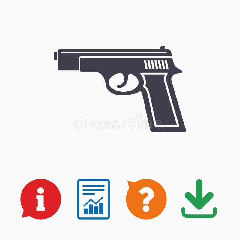 Icône de signe d'arme à feu Symbole d'arme d'armes à feu illustration de vecteur
