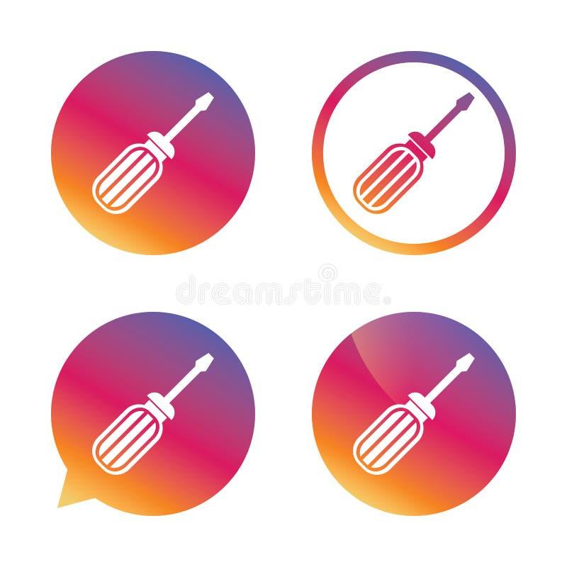 Icône de signe d'outil de tournevis Fixez-le symbole illustration de vecteur