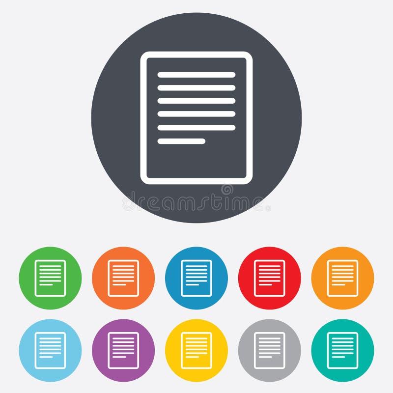 Icône De Signe De Fichier Texte. Cote Du Document De Dossier. Images stock