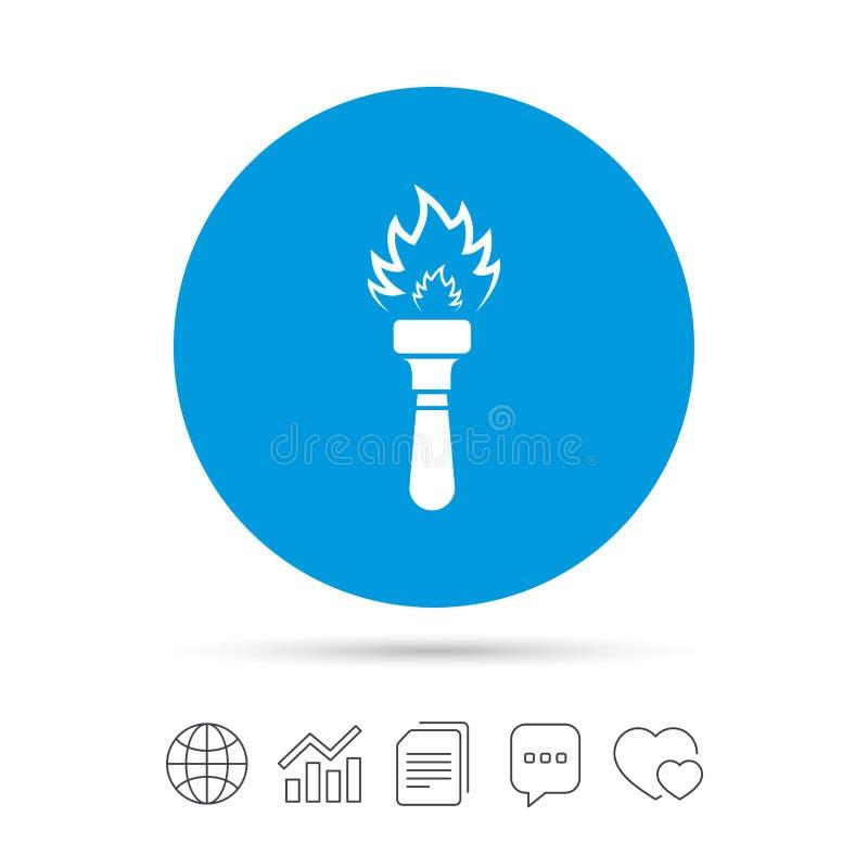 Icône de signe de flamme de torche Symbole de feu illustration libre de droits