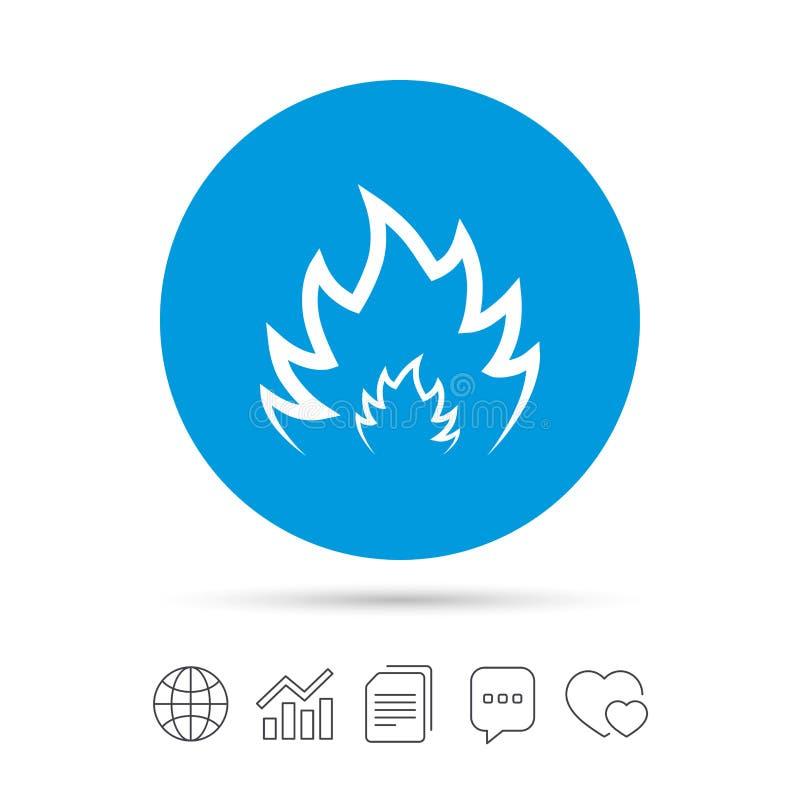 Icône de signe de flamme du feu Symbole de la chaleur illustration stock
