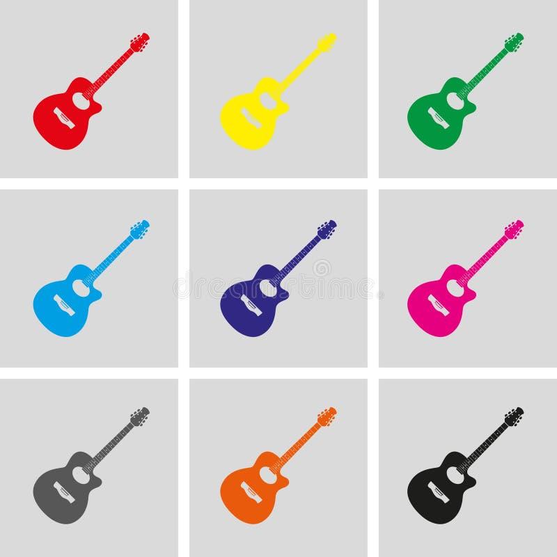 Icône de signe de guitare acoustique Conception plate d'illustration de vecteur d'actions d'icône de symbole de musique illustration libre de droits