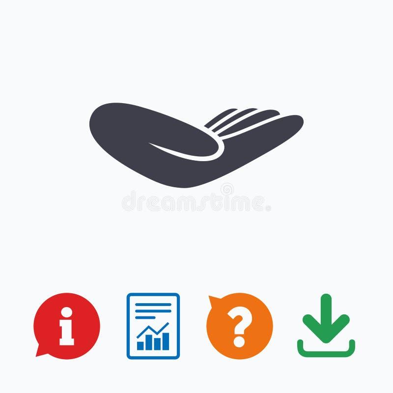 Icône de signe de main de donation Charité ou dotation illustration stock