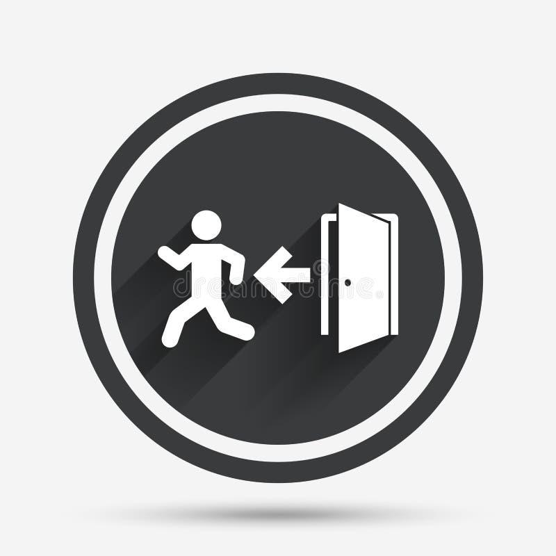 Icône de signe de sortie de secours Porte avec la flèche gauche illustration stock