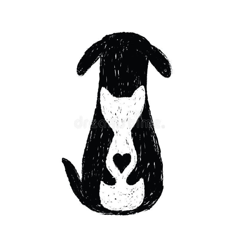 Icône de silhouette de l'amitié de chat et de chien illustration de vecteur