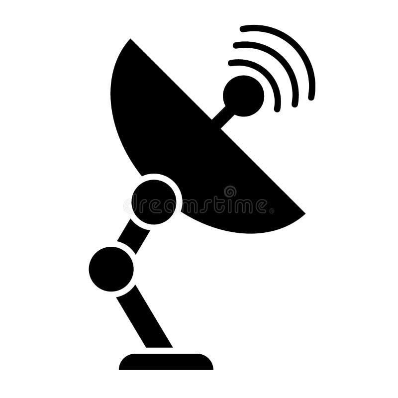 Ic?ne de solide d'antenne de satellite Illustration de communication d'isolement sur le blanc Conception de style de glyph d'ante illustration stock