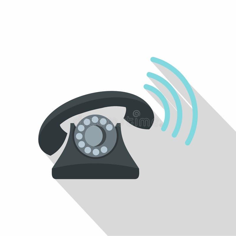 Icône de sonnerie de rétro téléphone noir, style plat illustration libre de droits