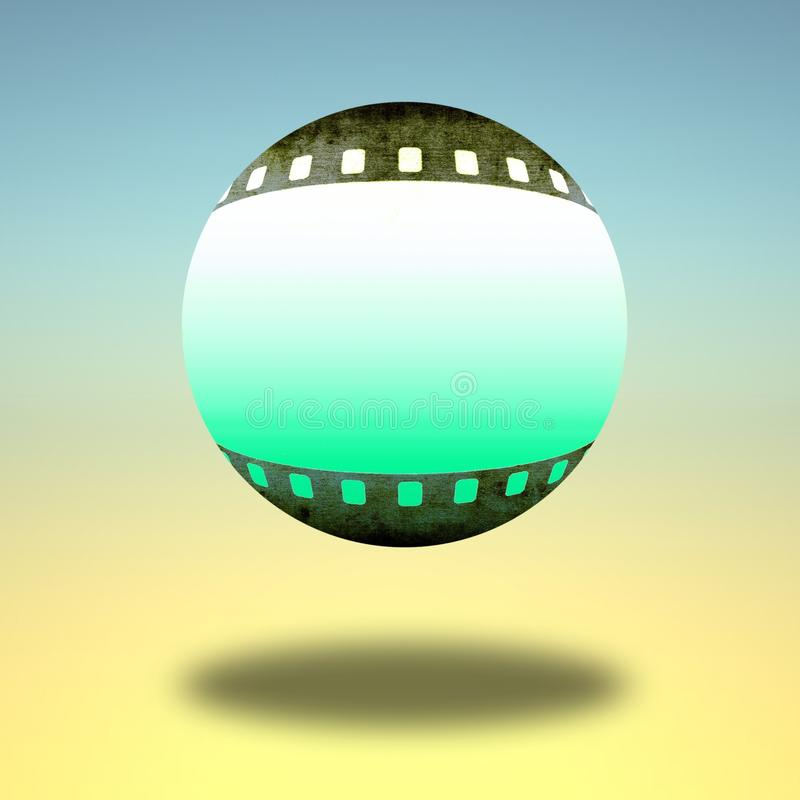 Icône de sphère avec des frontières de bande de film illustration stock
