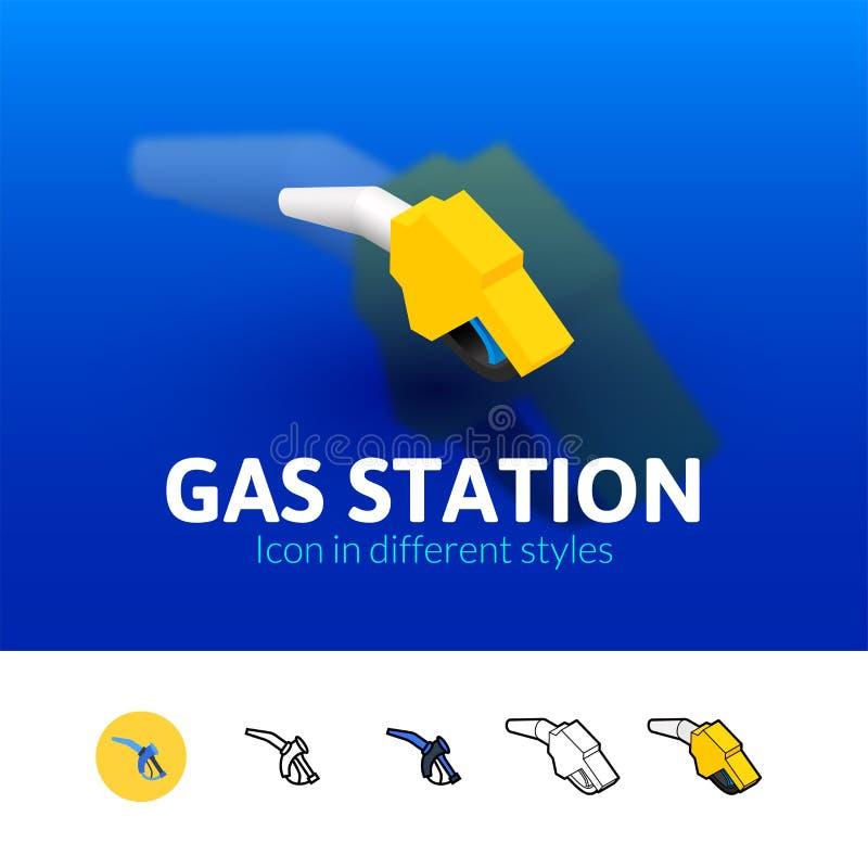 Icône de station service dans le style différent illustration stock