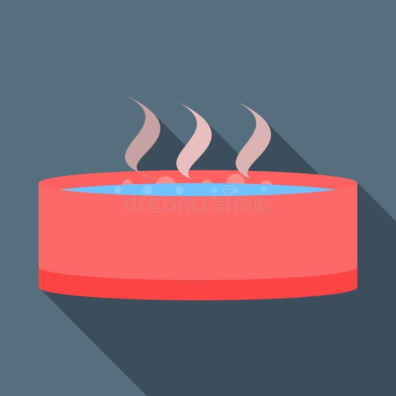 Icône de station thermale ou de baquet chaud, style plat illustration de vecteur