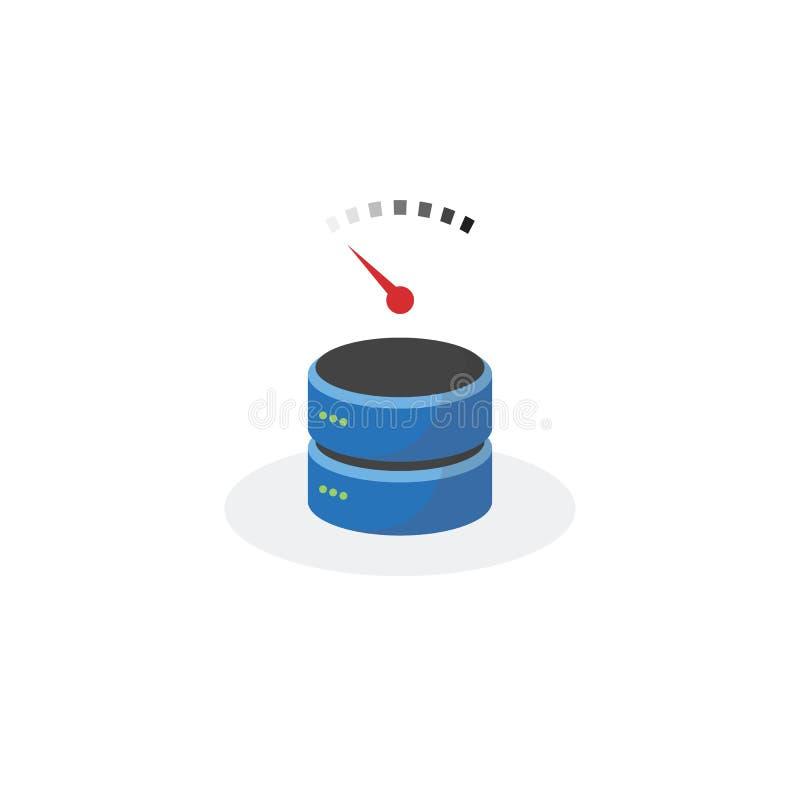 Icône de stockage de données avec le stockage bas à basse vitesse illustration stock