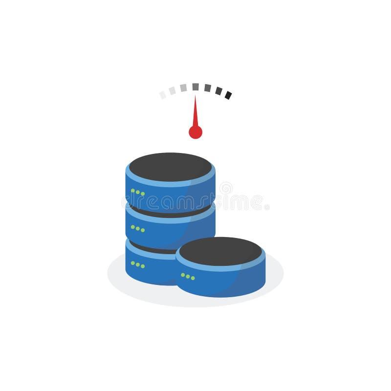 Icône de stockage de données avec le stockage de base de vitesse moyenne illustration libre de droits