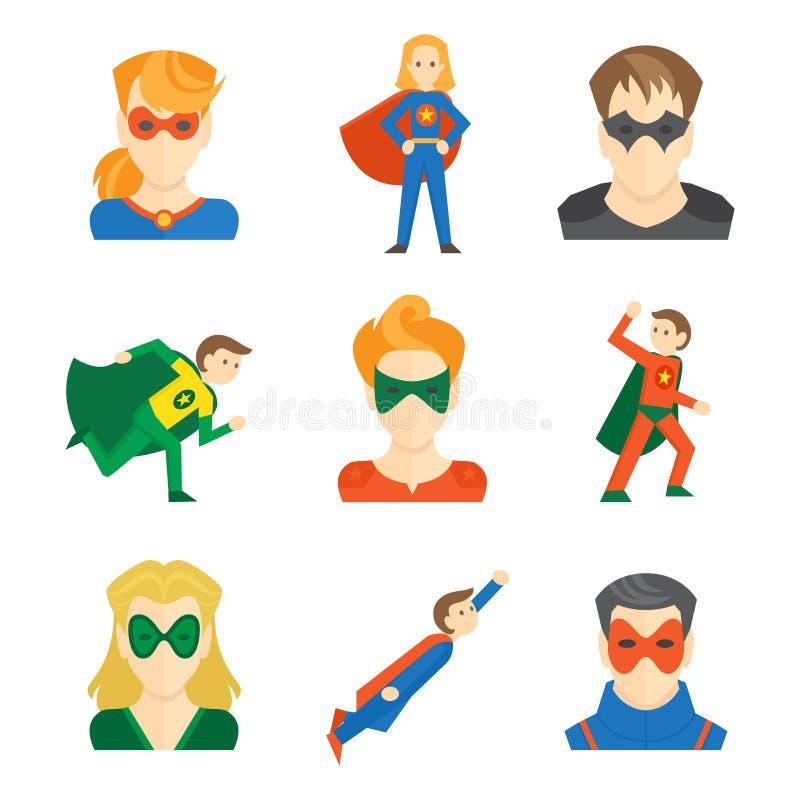 Icône de super héros plate illustration libre de droits