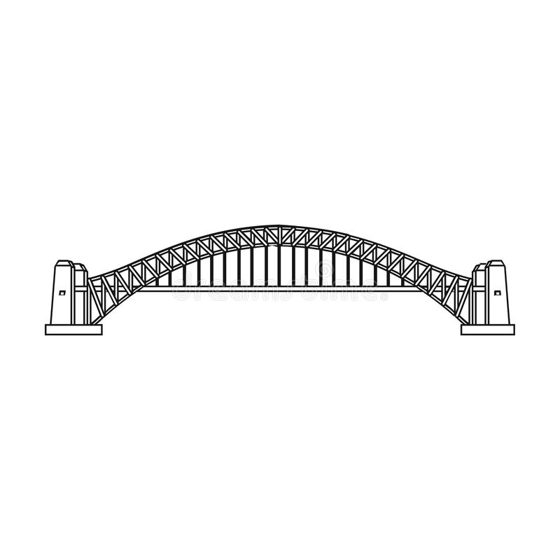 Icône de Sydney Harbour Bridge dans le style d'ensemble d'isolement sur le fond blanc Illustration de vecteur d'actions de symbol illustration libre de droits