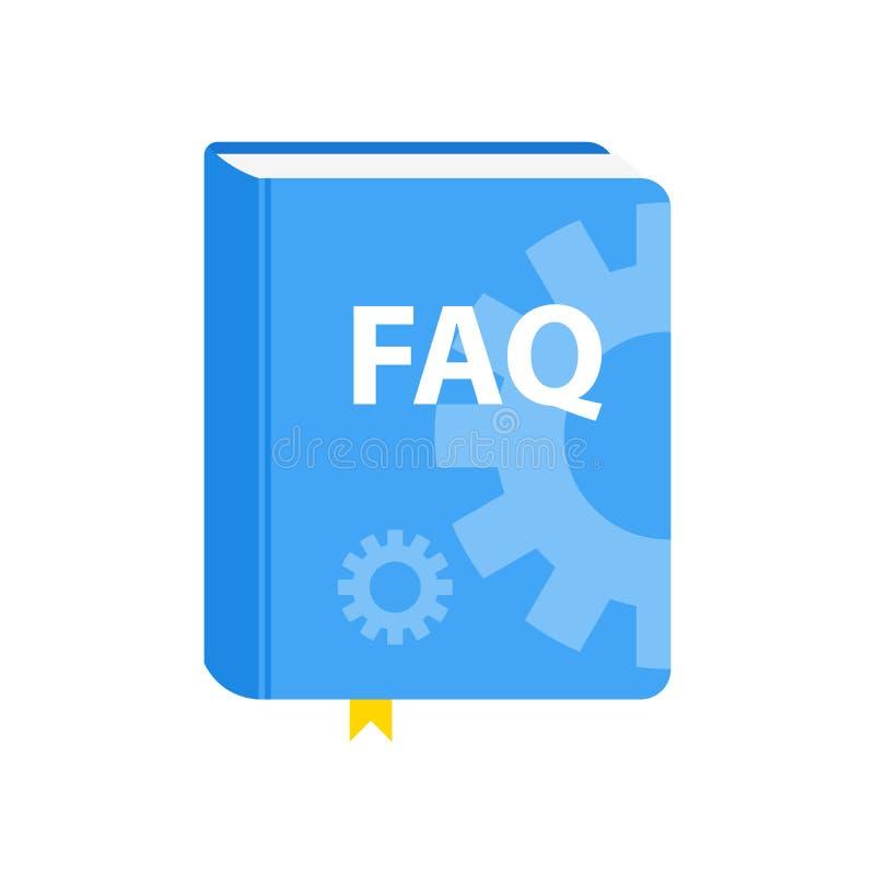 Icône de téléchargement de livre de FAQ de guide de l'utilisateur Illustration plate illustration de vecteur