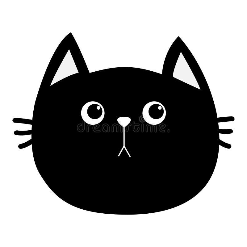 Icône de tête de chat noir Personnage de dessin animé drôle mignon Émotion triste Collection d'animal familier de Kitty Whisker B illustration libre de droits
