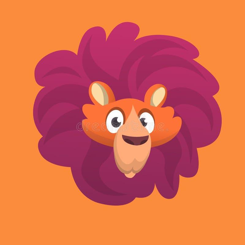 Icône de tête de lion de bande dessinée Illustration de vecteur simplifiée par couleur lumineuse plate illustration libre de droits