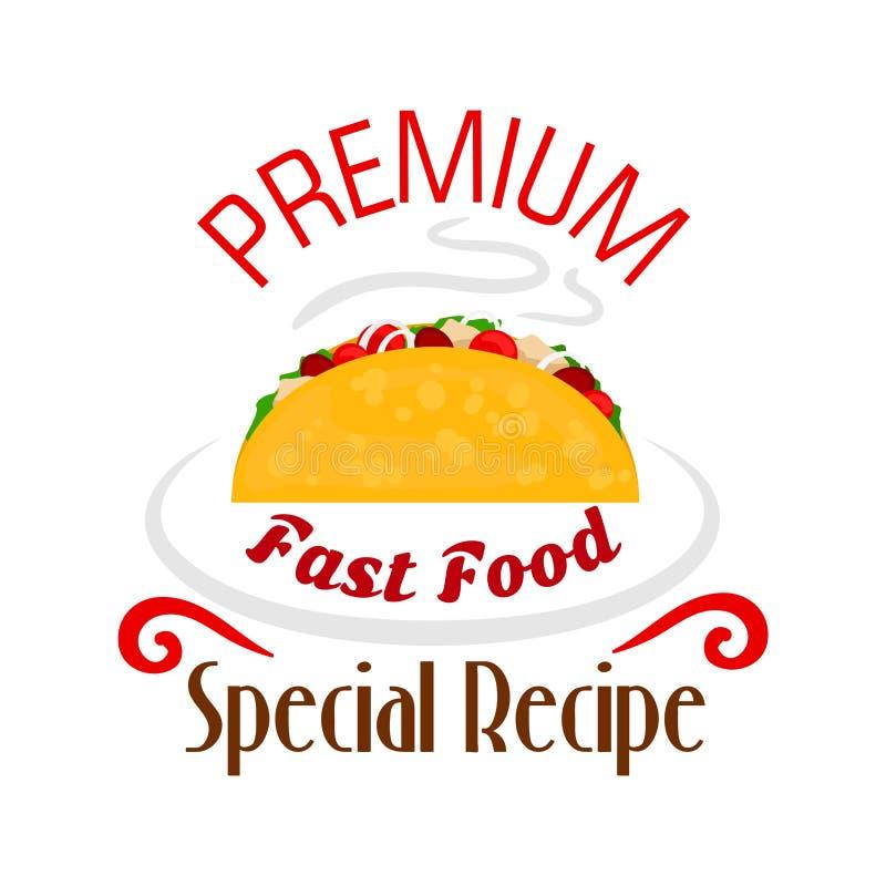 Icône de Tacos Emblème mexicain d'aliments de préparation rapide illustration stock