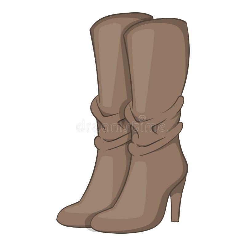 Icône de talon haut des bottes des femmes, style de bande dessinée illustration stock