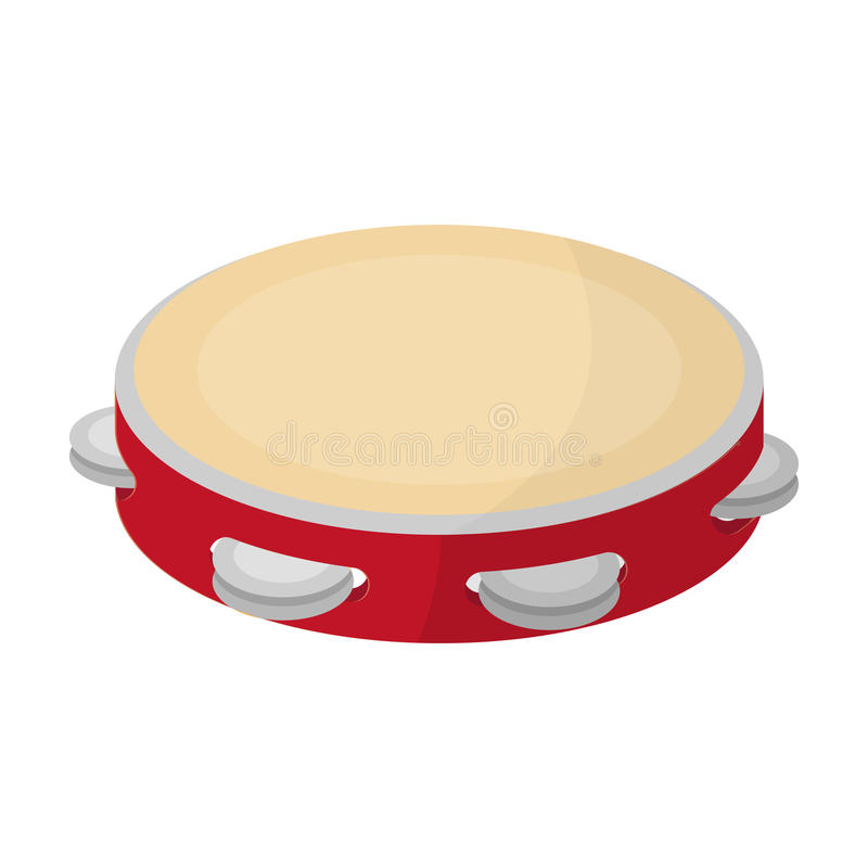 Icône de tambour de basque dans le style de bande dessinée d'isolement sur le fond blanc Illustration de vecteur d'actions de sym illustration de vecteur