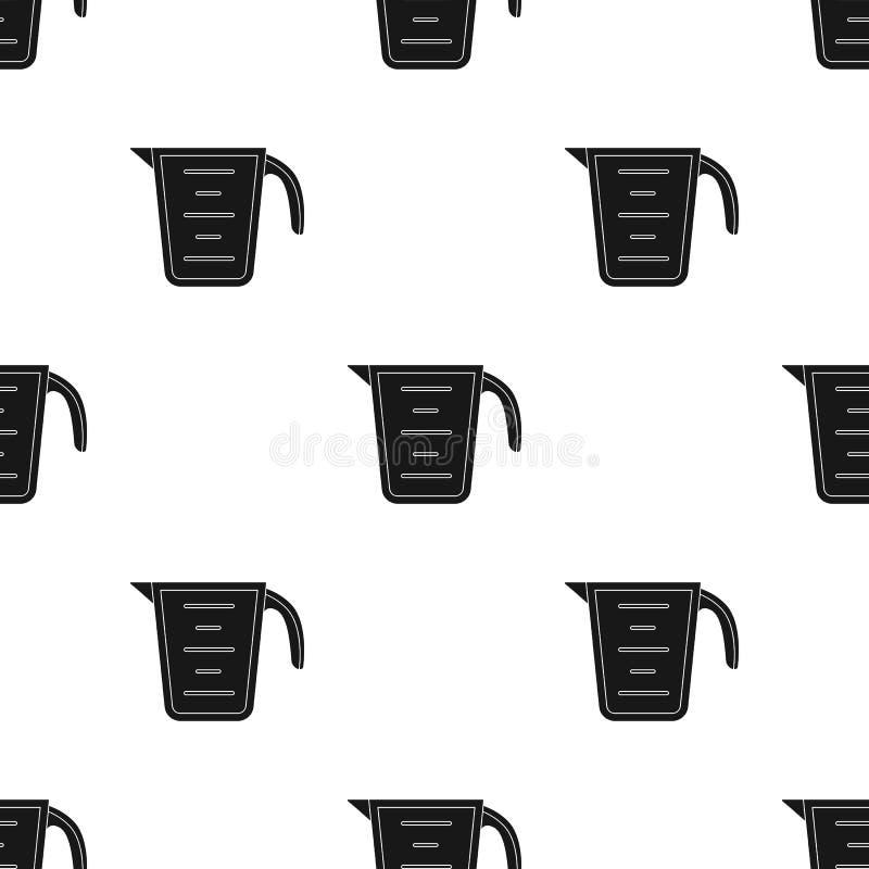 Icône de tasse de mesure dans le style noir d'isolement sur le fond blanc Illustration de vecteur d'actions de modèle de cuisine illustration stock