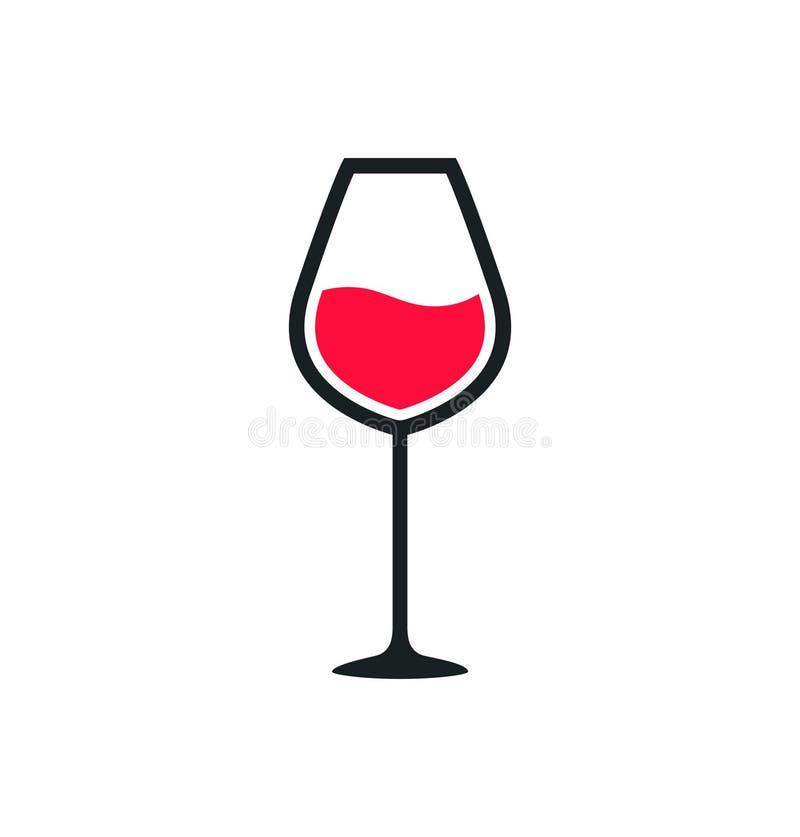 Ic?ne de tasse en verre de vin Le symbole de vin rouge versent la silhouette de boisson de boissons, tasse en verre illustration stock