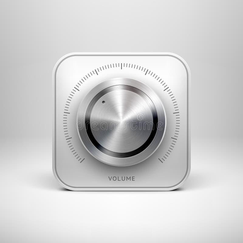 Icône de technologie avec le bouton texturisé en métal illustration libre de droits
